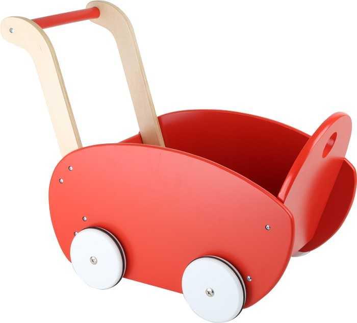 Dřevěný kočárek pro panenky červený