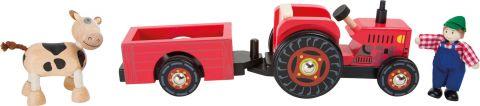 Dřevěný farmářský traktor s vlečkou