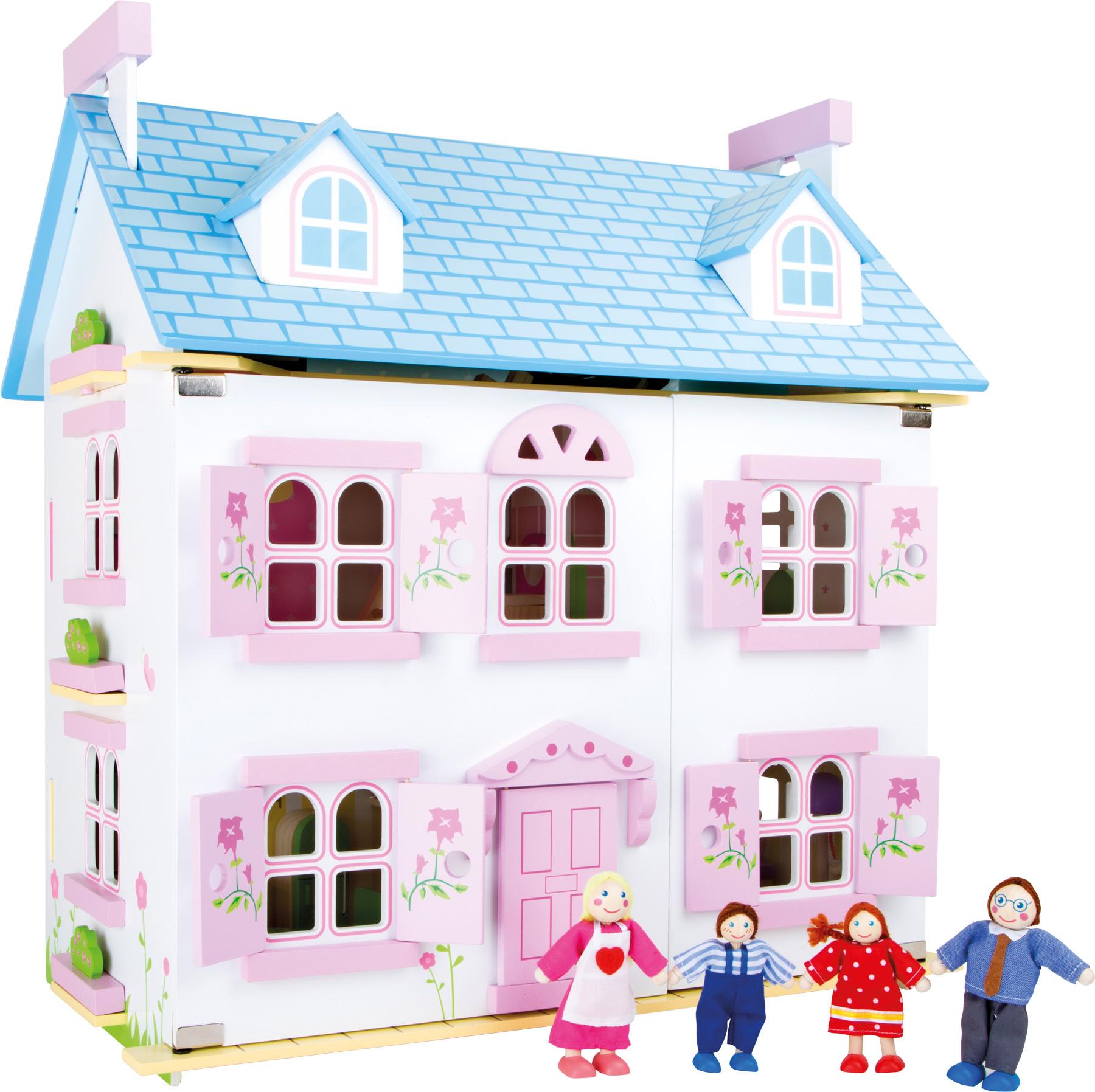 Dřevěný domeček pro panenky Květinový ráj
