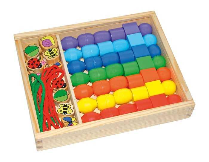 Dřevěné navlékací korálky - box Jumbokorálky