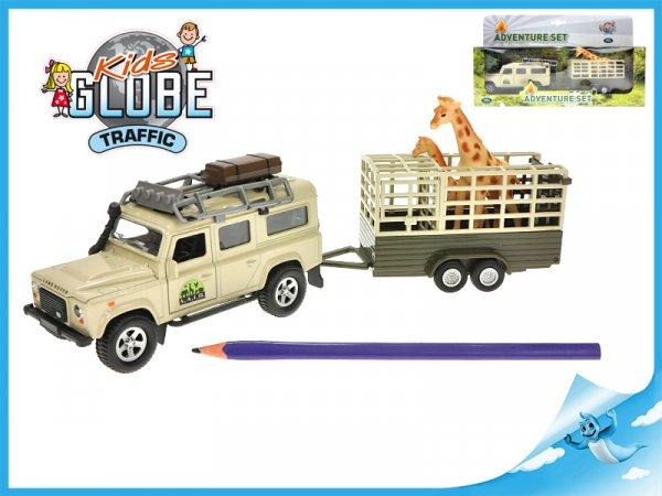 Land Rover Defender s přívěsem a žirafou
