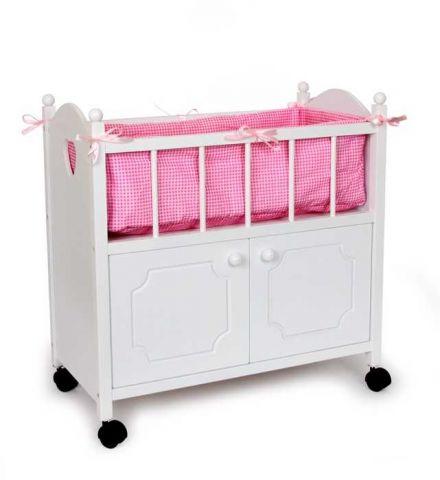 Dřevěná postýlka pro panenky se skříňkou