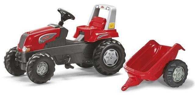 RollyToys Šlapací traktor Rolly Juniors vlečkou červený