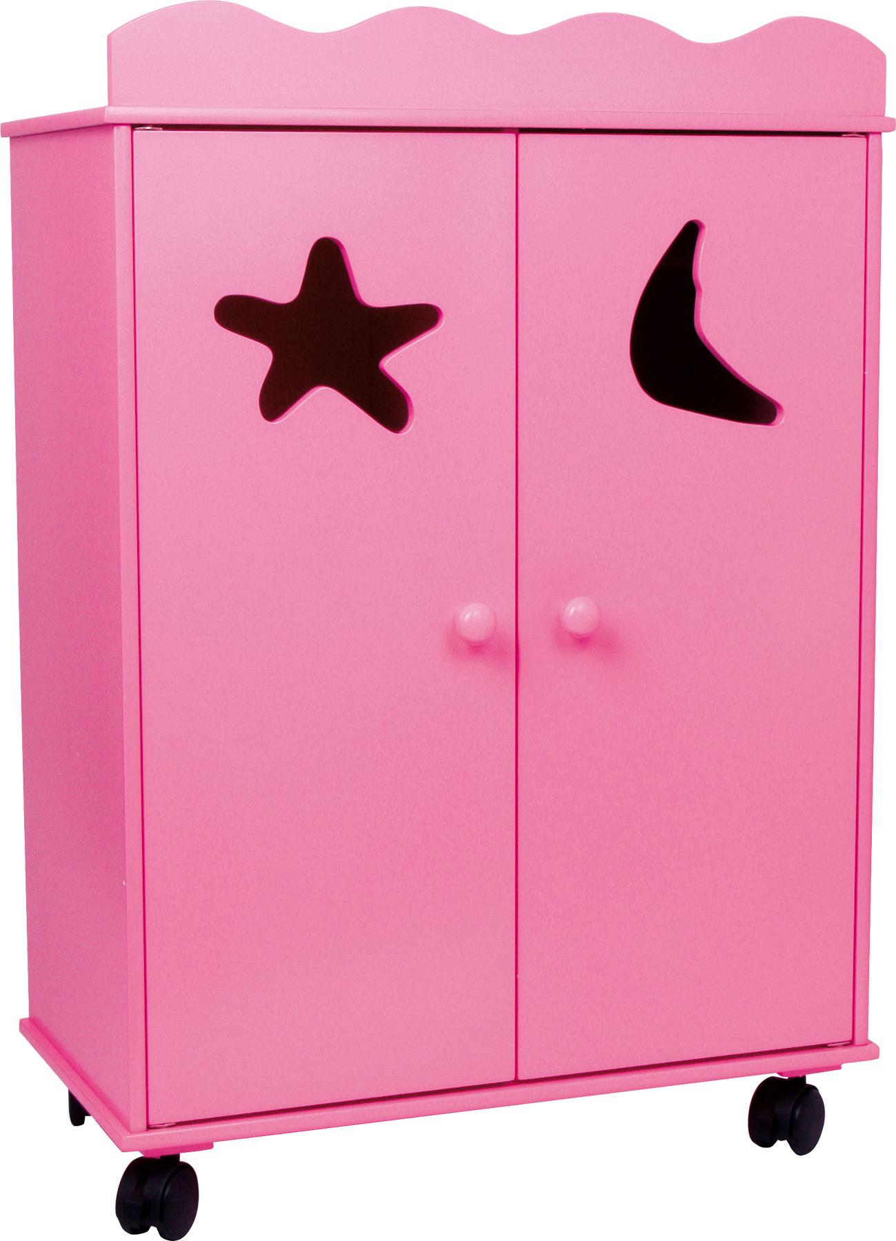 Dřevěná skříň pro panenky růžová