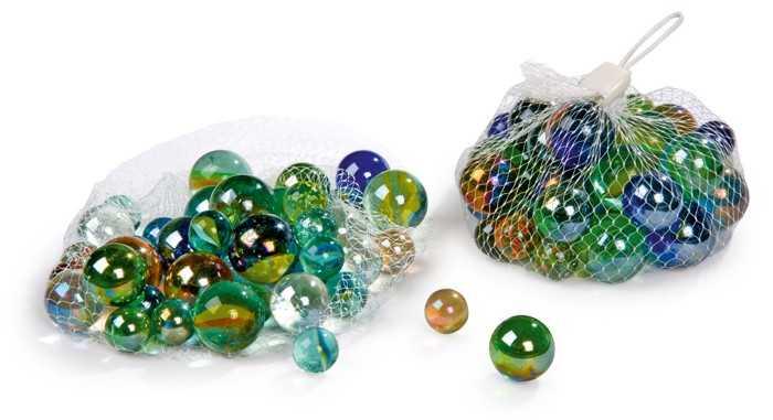 Cvrnkací kuličky skleněné - skleněnky - 40 kusů