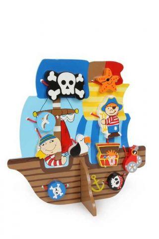 Dřevěná hračka - Provlékací hra Pirátská loď