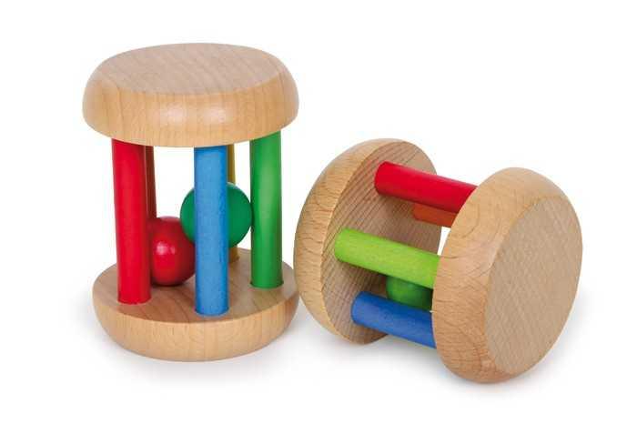 Dřevěné hračky pro nejmenší - Kruhová chrastítka 2ks