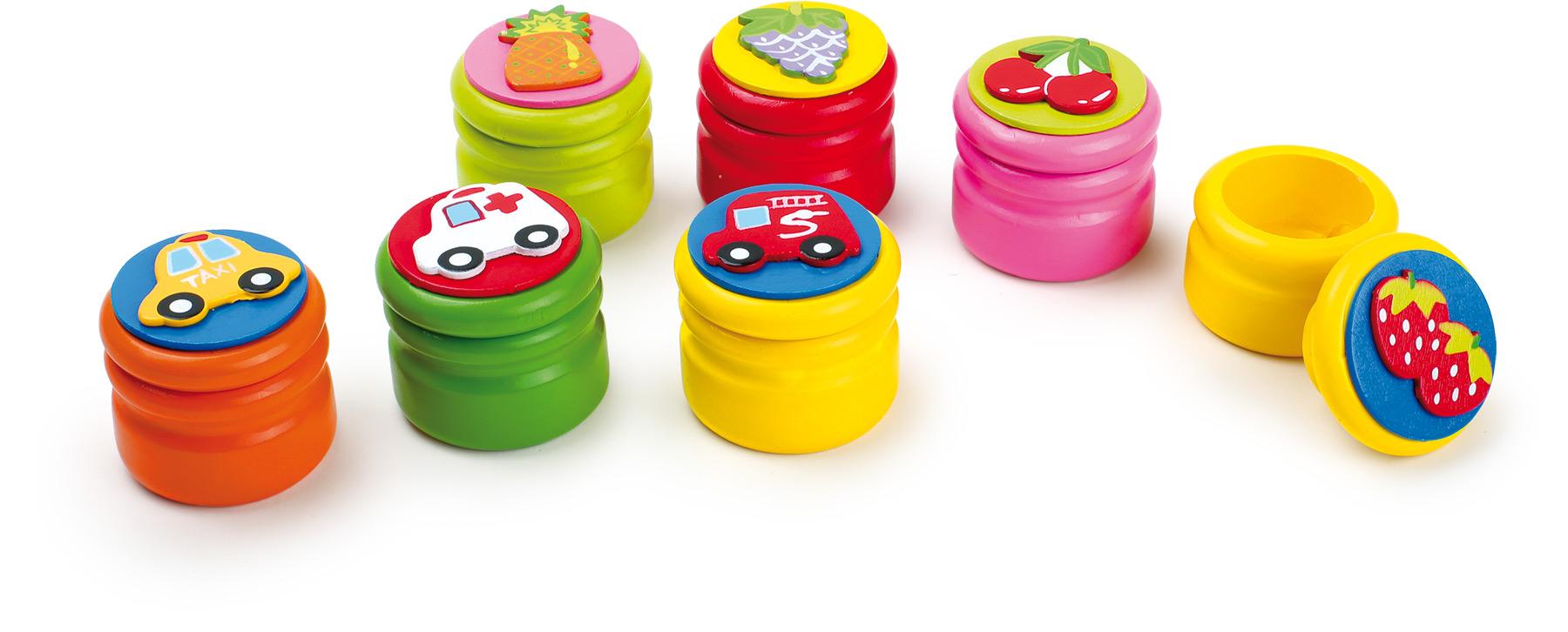 Dřevěné hračky - Krabička na mléčné zoubky ovoce a auta