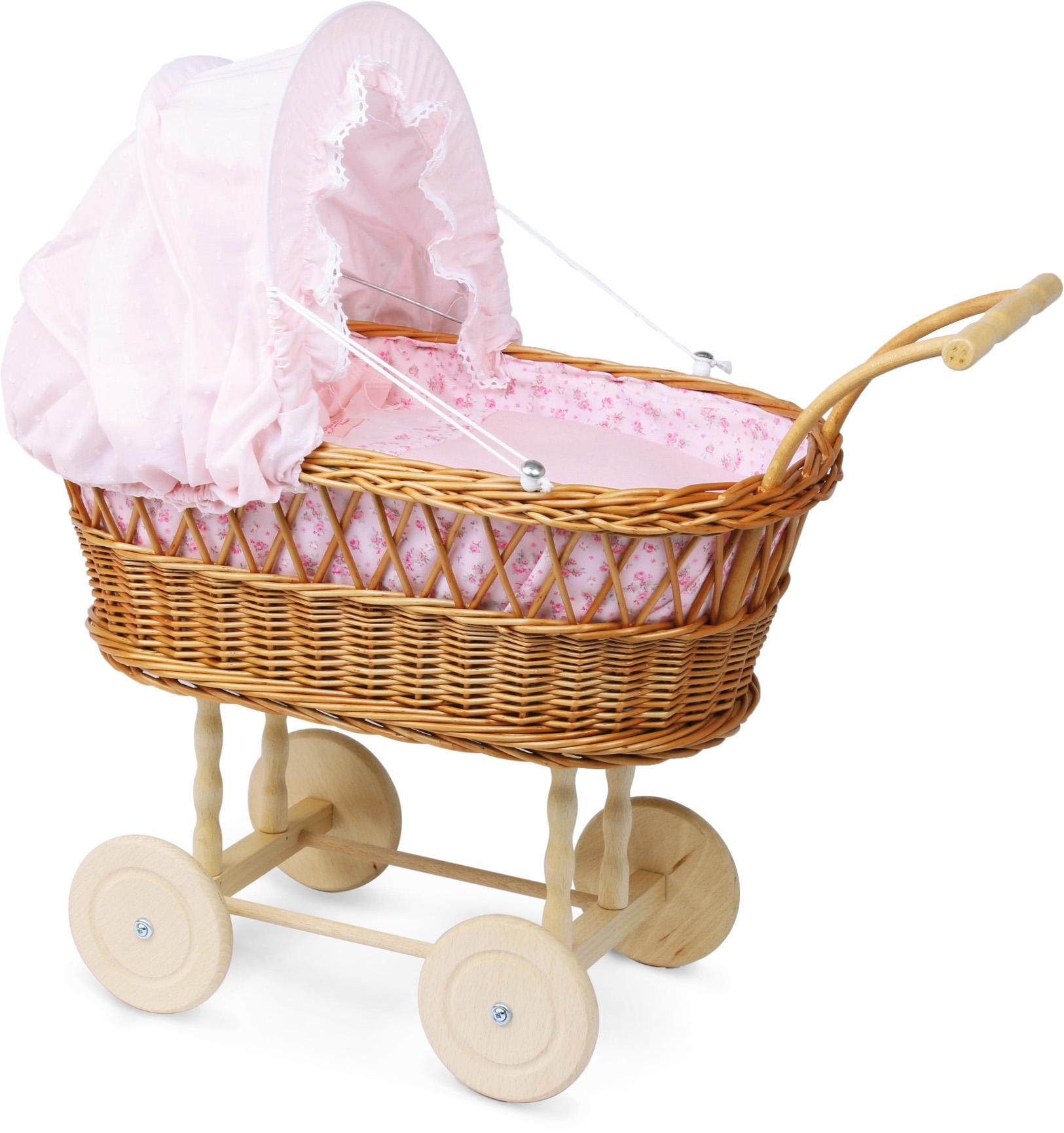 Petitcollin Velký proutěný kočárek pro panenku Rose