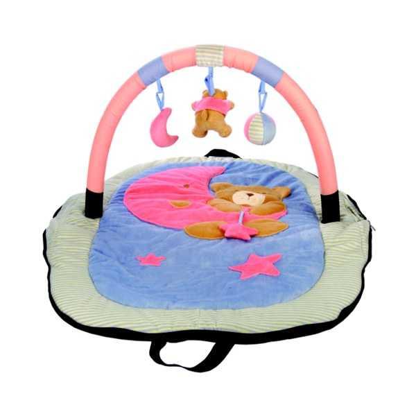 Textilní hračky - Cestovní hrací deka s hrazdou – medvídek