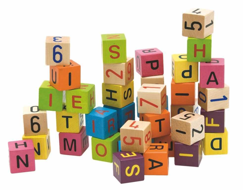Woody Barevné kostky s písmeny a čísly , 40ks