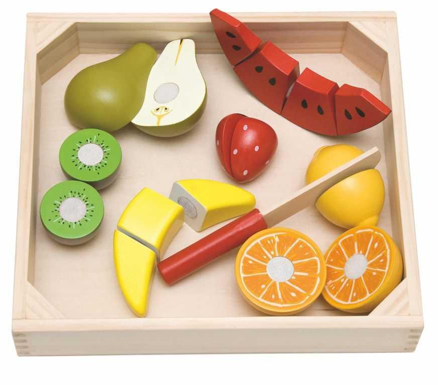 Dřevěné hračky Woody - Krájení na prkénku - ovoce s melounem