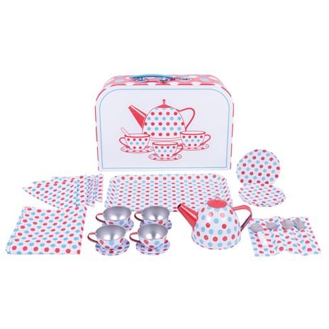 Bigjigs Toys Čajový servis s puntiky v kufříku