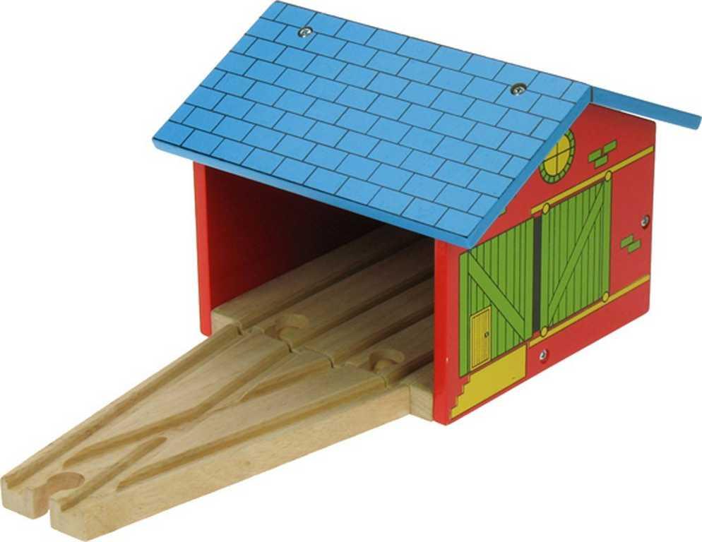 Bigjigs Rail dřevěné vláčkodráha - Depo pro dva vláčky