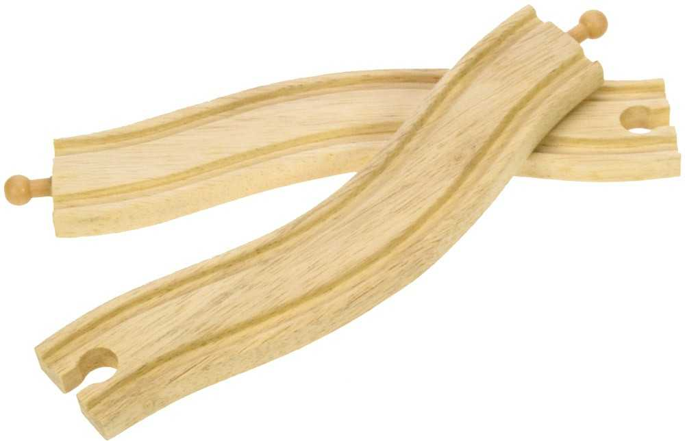 Obloukové dřevěné koleje vláčkodráhy Bigjigs - 22cm - 2ks