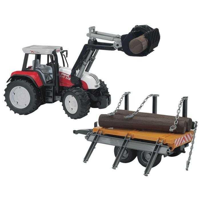 Bruder - Traktor STEYR CVT 170 + přepravník dřeva