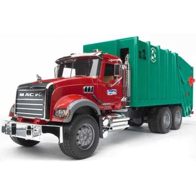 Bruder - Nákladní auto MACK Granit - popelář, zelený
