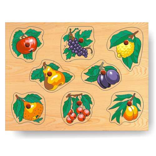 Dřevěné vkládací puzzle - Vkládačka - Ovoce na stromě