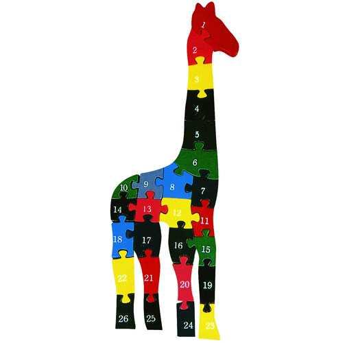 Dřevěné vkládací puzzle z masivu - Žirafa s čísly a písmeny