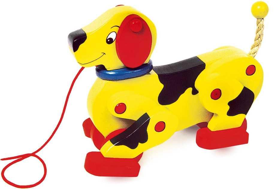 Dřevěné hračky - Dřevěný tahací chodící pes
