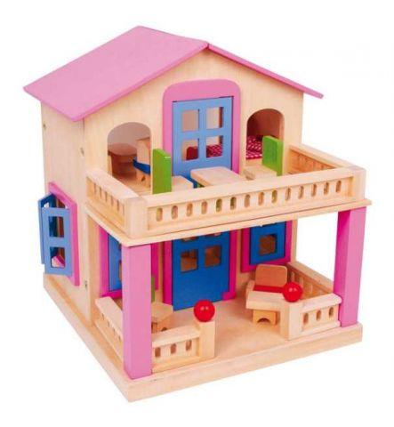 Růžový domeček pro panenky s terasou Clara