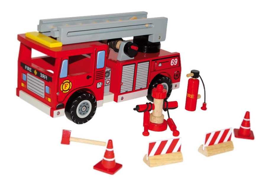 Dřevěné hasičské auto s příslušenstvím
