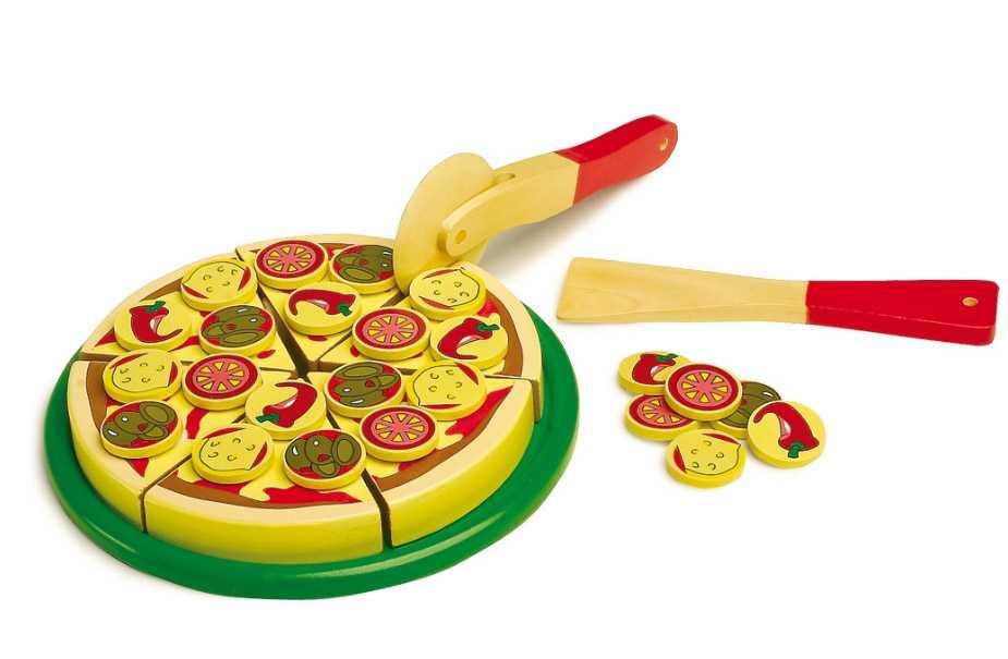 Dřevěné hračky pro holky - Dřevěná sada pizza