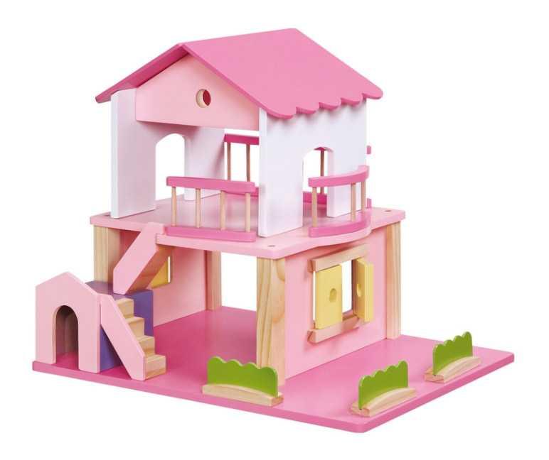 Dřevěný růžový domeček pro panenky