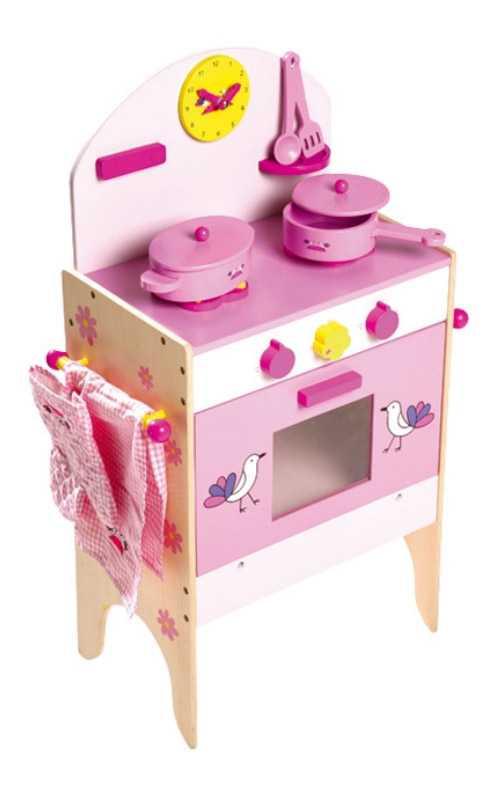 Dětská dřevěná růžová kuchyňka pro panenky