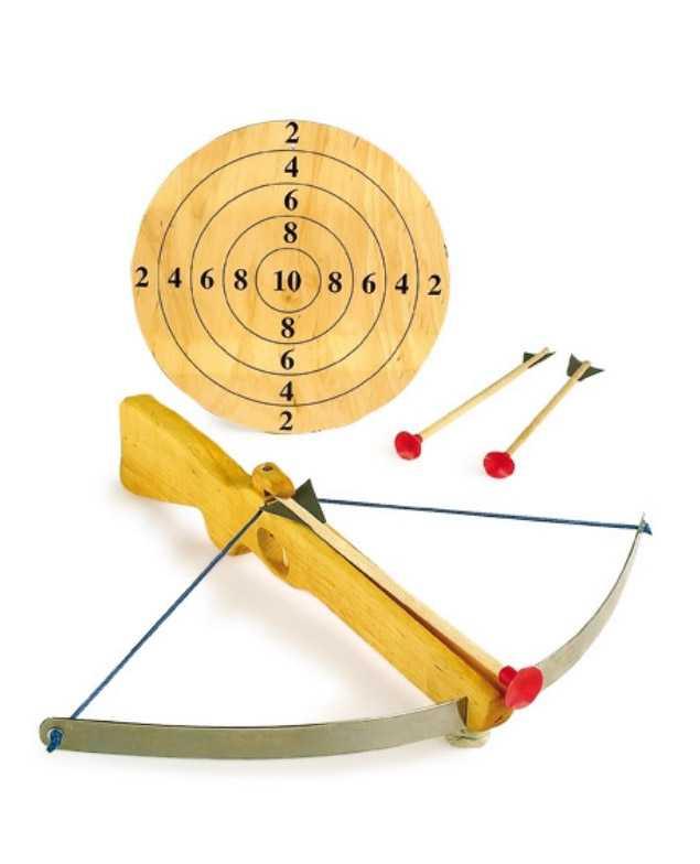 Dřevěné hračky pro kluky - Velká kuše s šípy a terčem
