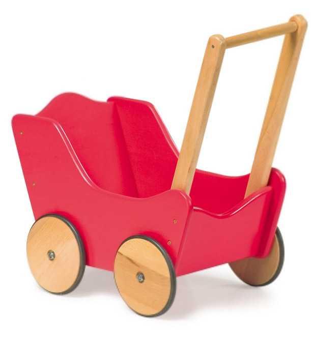Dřevěné hračky - Dřevěný kočárek pro panenky červený