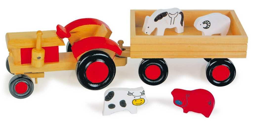 Dřevěný traktor s vlečkou a zvířátky