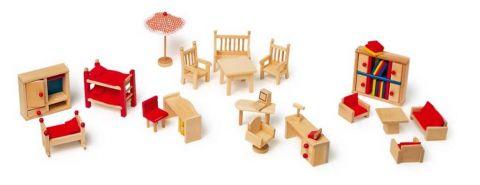 Dřevěné hračky - Dřevěný nábytek pro panenky - set