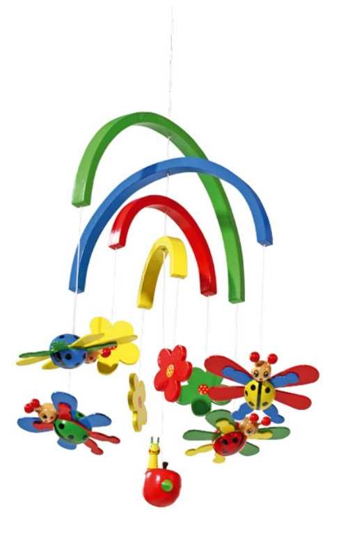 Dřevěné hračky pro nejmenší - Závěsný kolotoč - Berušky