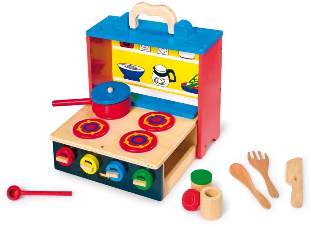 Dětská dřevěná mobilní kuchyňka