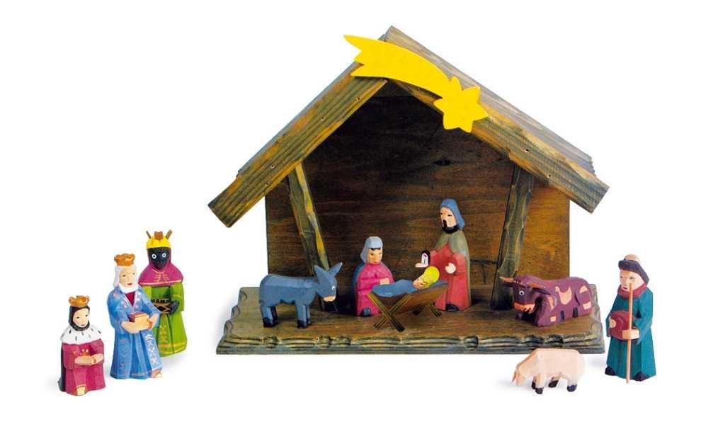 Dřevěné hračky - Dřevěný betlém s figurkami