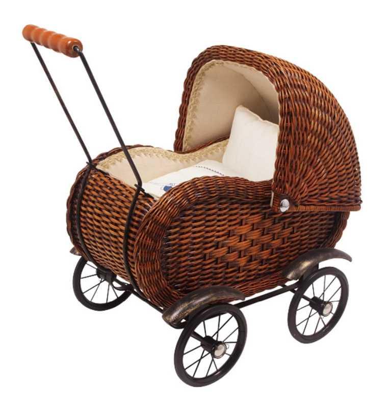 Dřevěné hračky - Proutěný kočárek pro panenky Elisabeth
