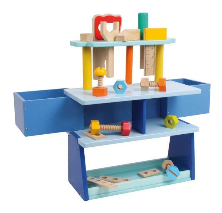 Dřevěné hračky - Dílenský stůl ponk modrý