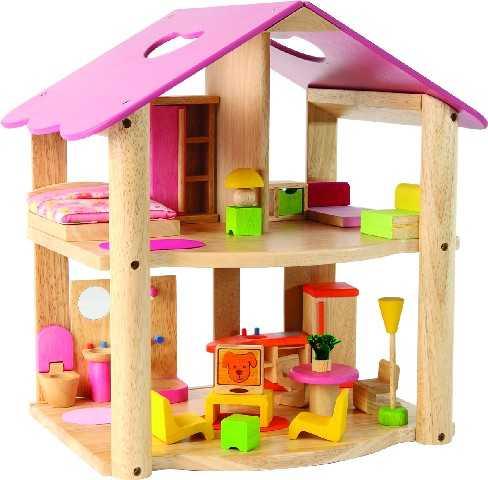 Domeček pro panenky - Dřevěný domeček Růžový + nábytek