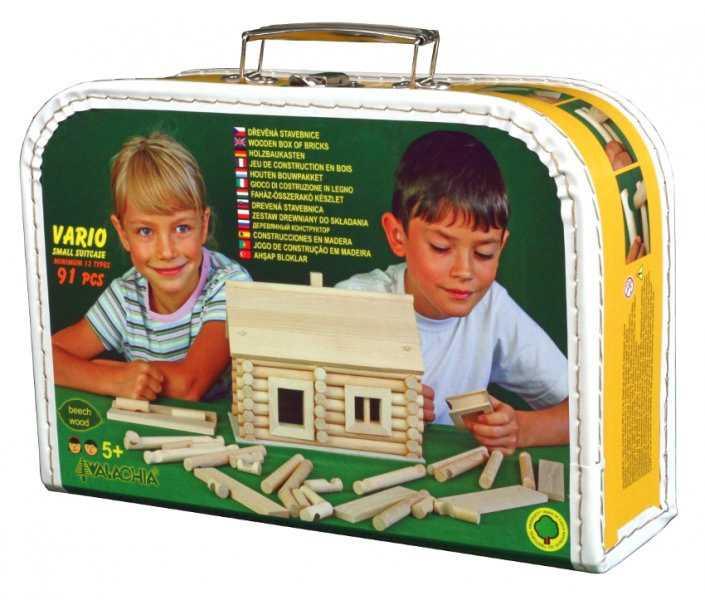 Dřevěná stavebnice Walachia - Vario kufřík - 91 dílů