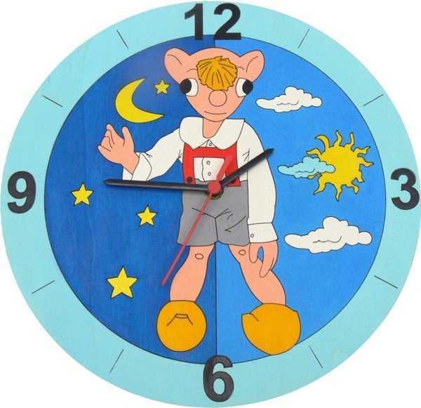 Dětské dřevěné hodiny - Hurvínek den a noc