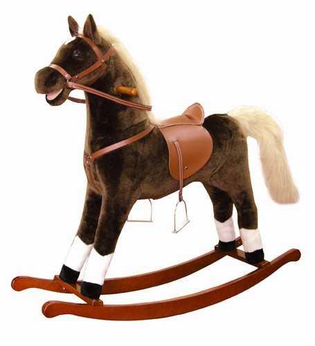 Dřevěné hračky - Houpací kůň plyšový, maxi, hnědý