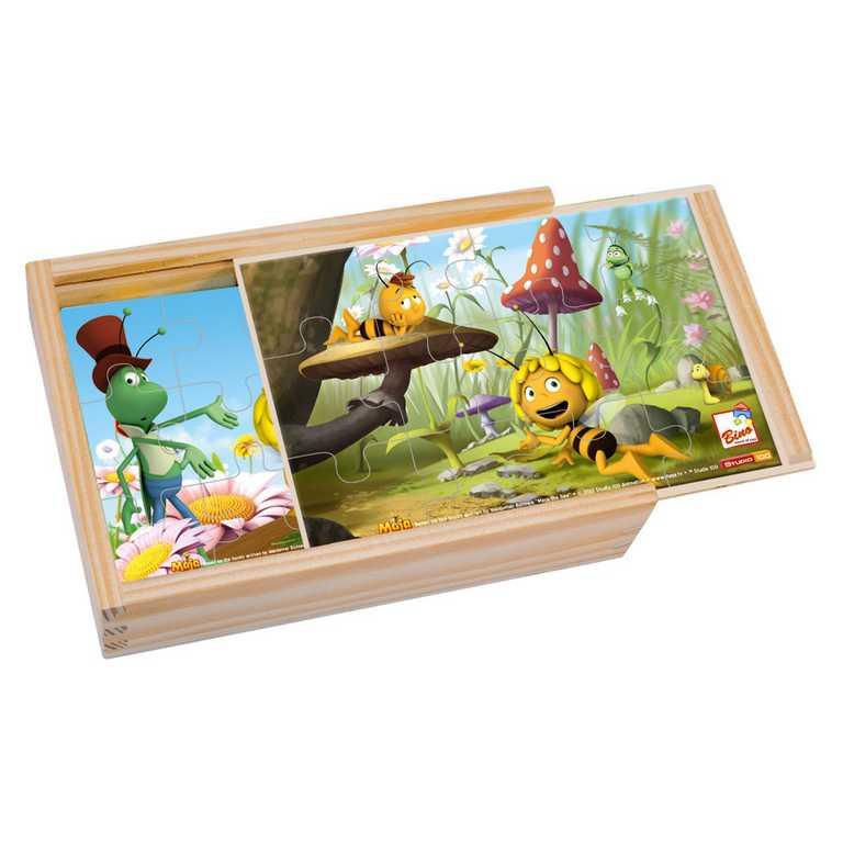 Dřevěné hračky - 4 puzzle v krabičce - Včelka Mája