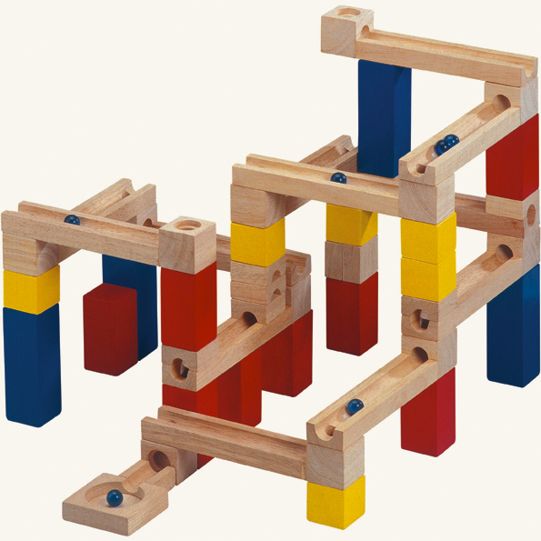 Dřevěné hračky - Stavba - kuličková dráha, 33 dílů