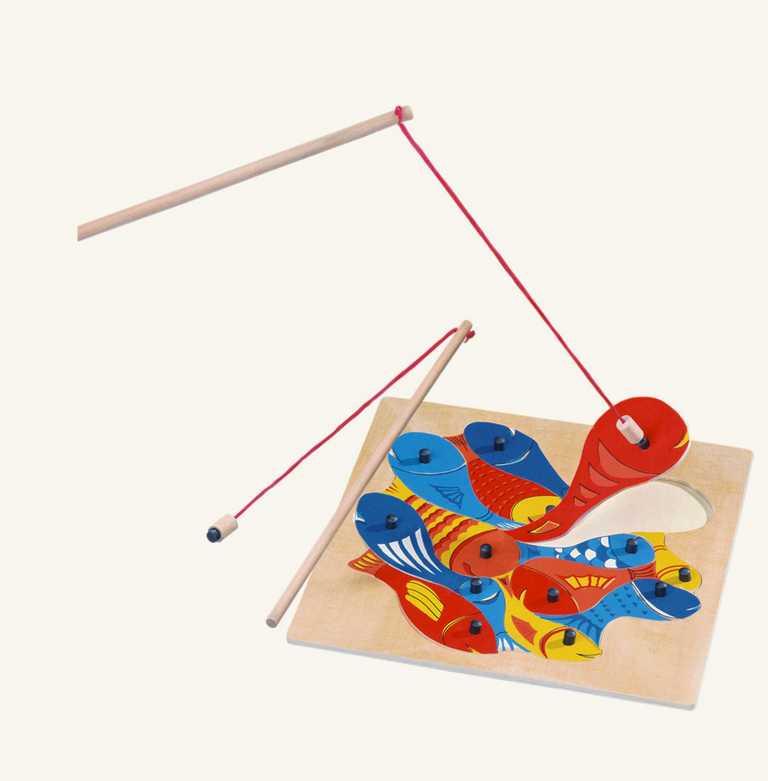 Dřevěné hračky - Magnetická hra - puzzle rybičky s udičkou