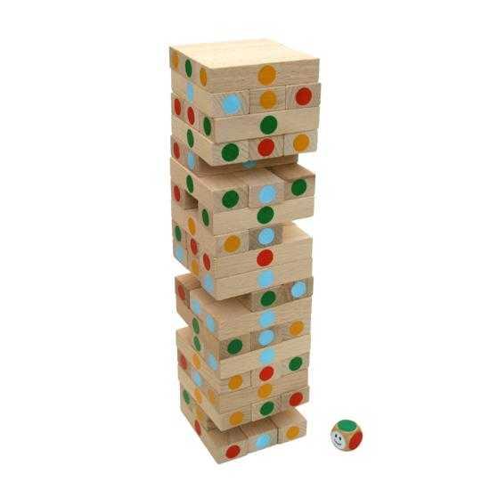 Dřevěn hra - Velká přírodní Jenga s puntíky