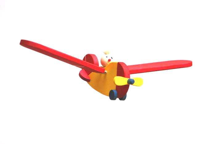 Dřevěné letadlo s pilotem - malé