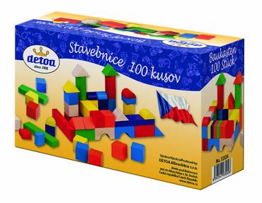 Dřevěné hračky - dřevěná stavebnice kostky 100 ks