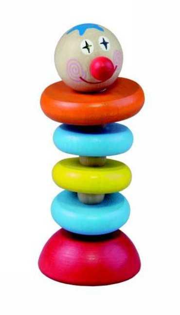 Dřevěné hračky pro nejmenší - Šašek na gumě